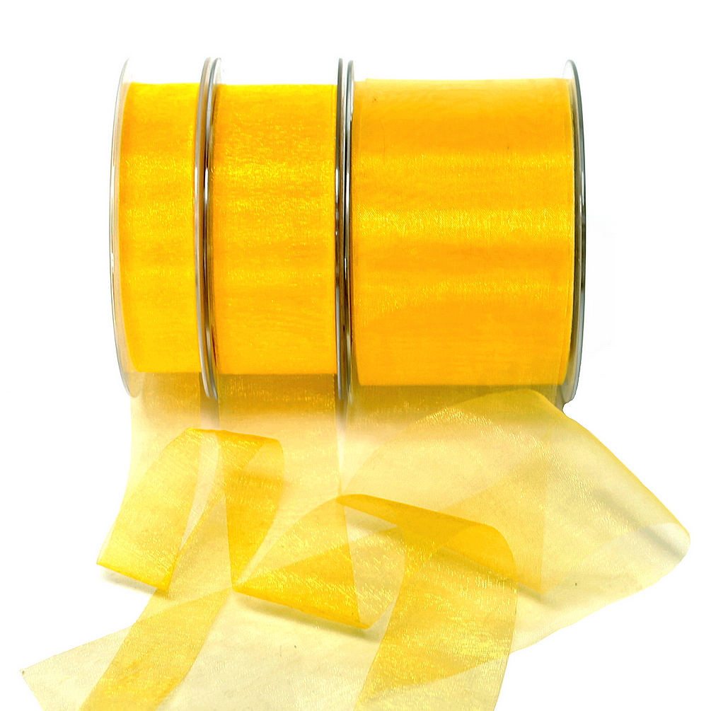 Organza Band gelb 45,7 Meter = 50 yard/ Tischband !!!