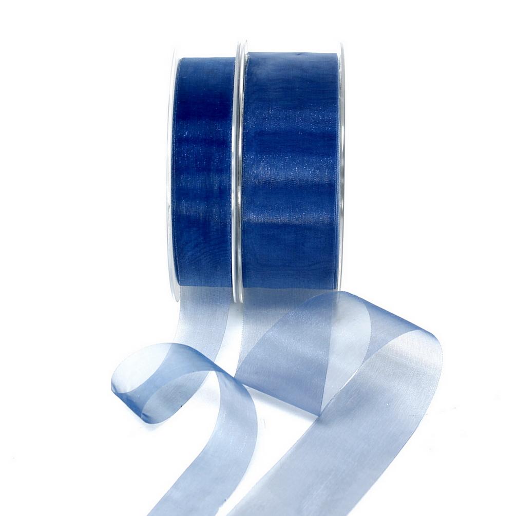 Organza Band d.-blau 45,7 Meter = 50 yard/ Tischband !!!