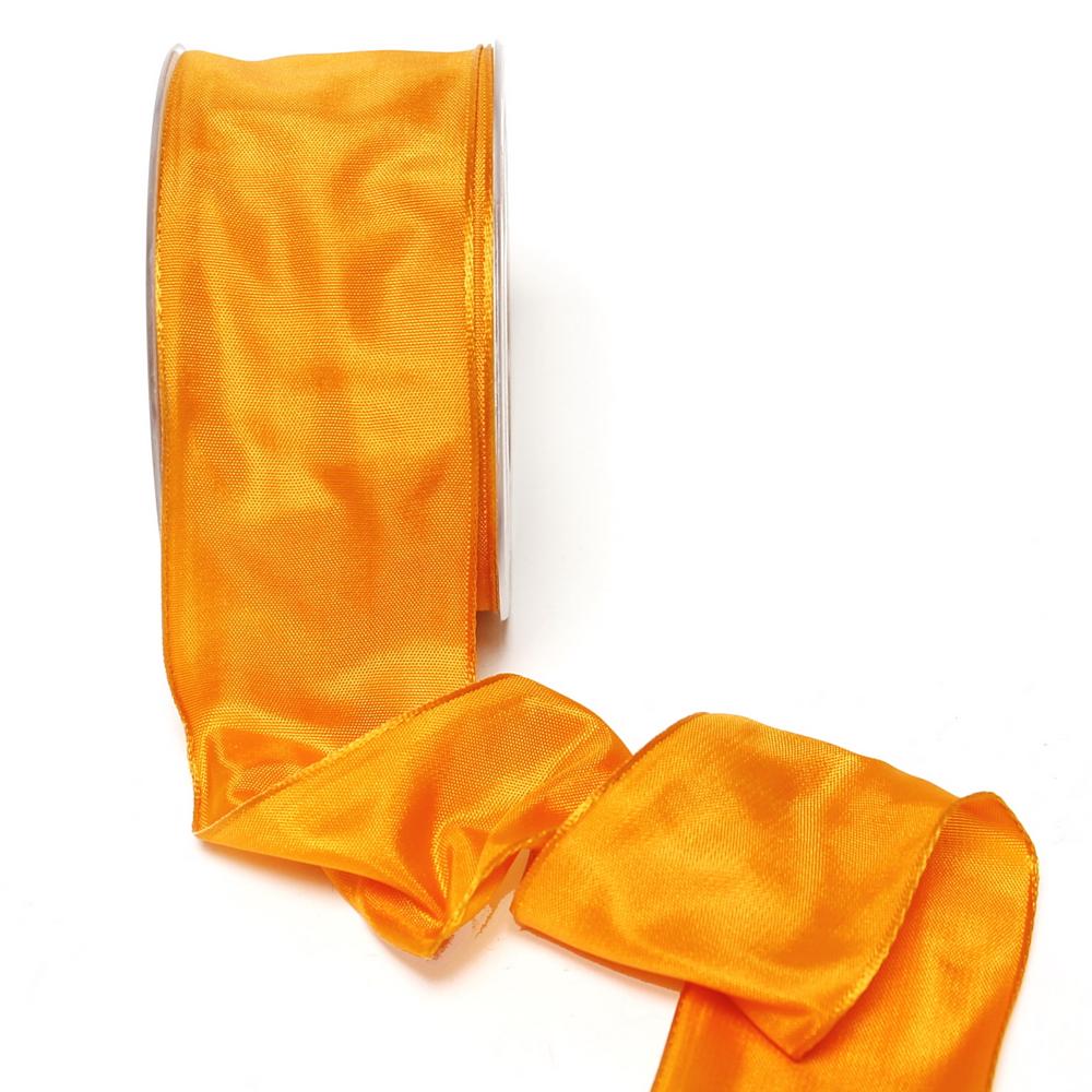 Band Acetat, orange uni, 60mm, 25m Tischband m. Draht/ TOP PREIS !!!