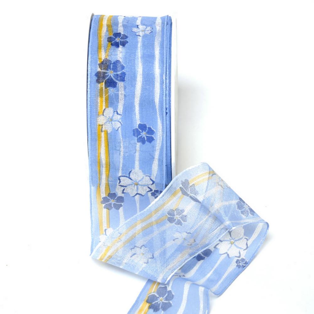 Band leicht transparent, Streifen + Blüten h.-blau/gelb, 40mm/ 20 M.