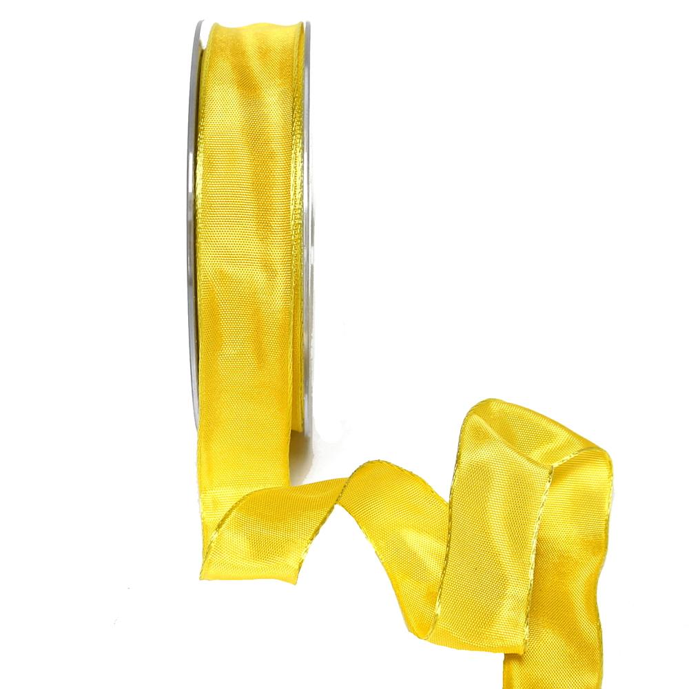 Band Acetat, h.-gelb uni, 25mm, 25m Schleifenband m. Draht/ TOP PREIS