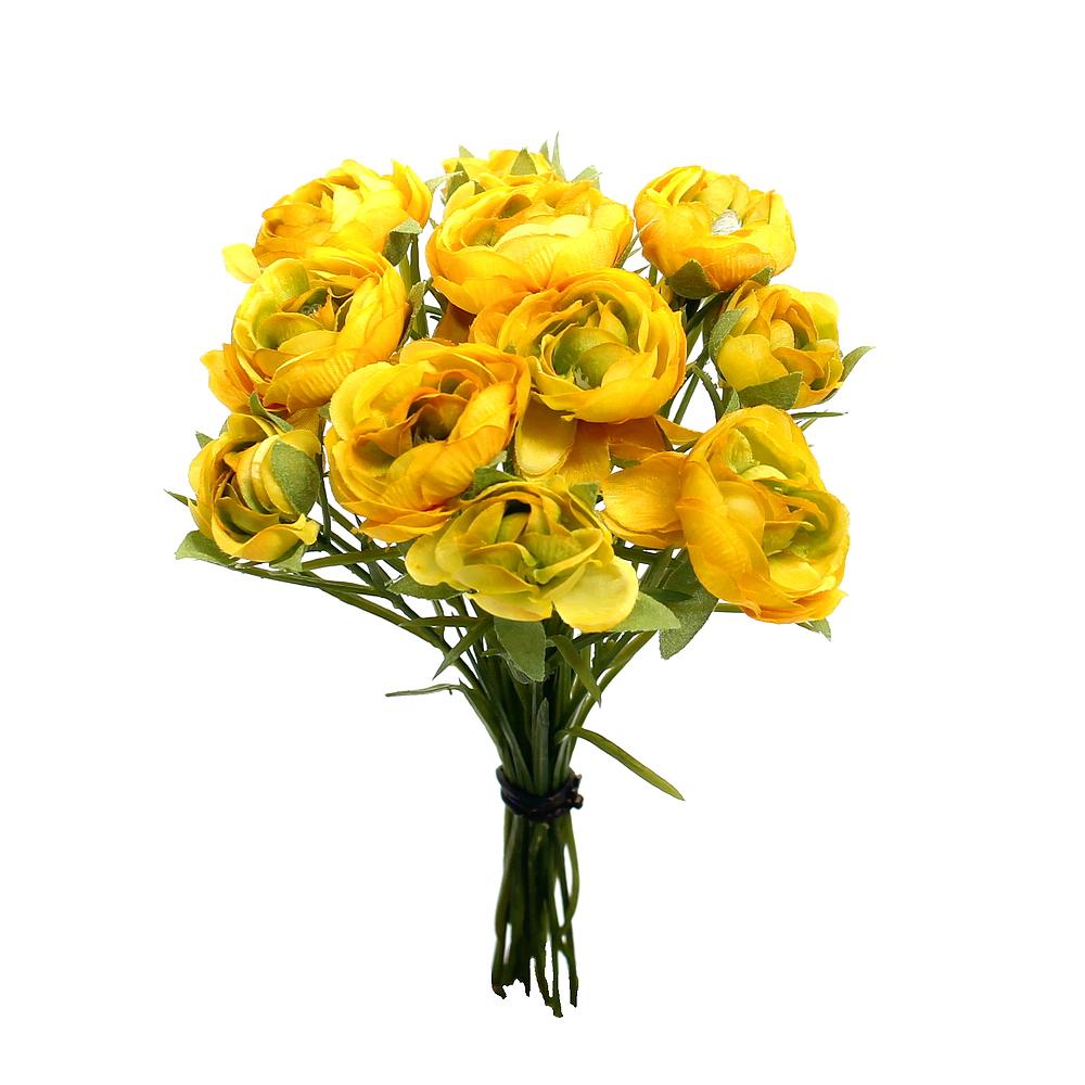 Ranunkel- Busch x12 Blüten, L 23cm, einzelne Stiele, künstlich !!! 03 gelb