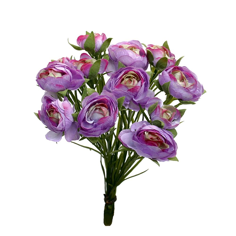Ranunkel- Busch x12 Blüten, L 23cm, einzelne Stiele, künstlich !!! 07 violett