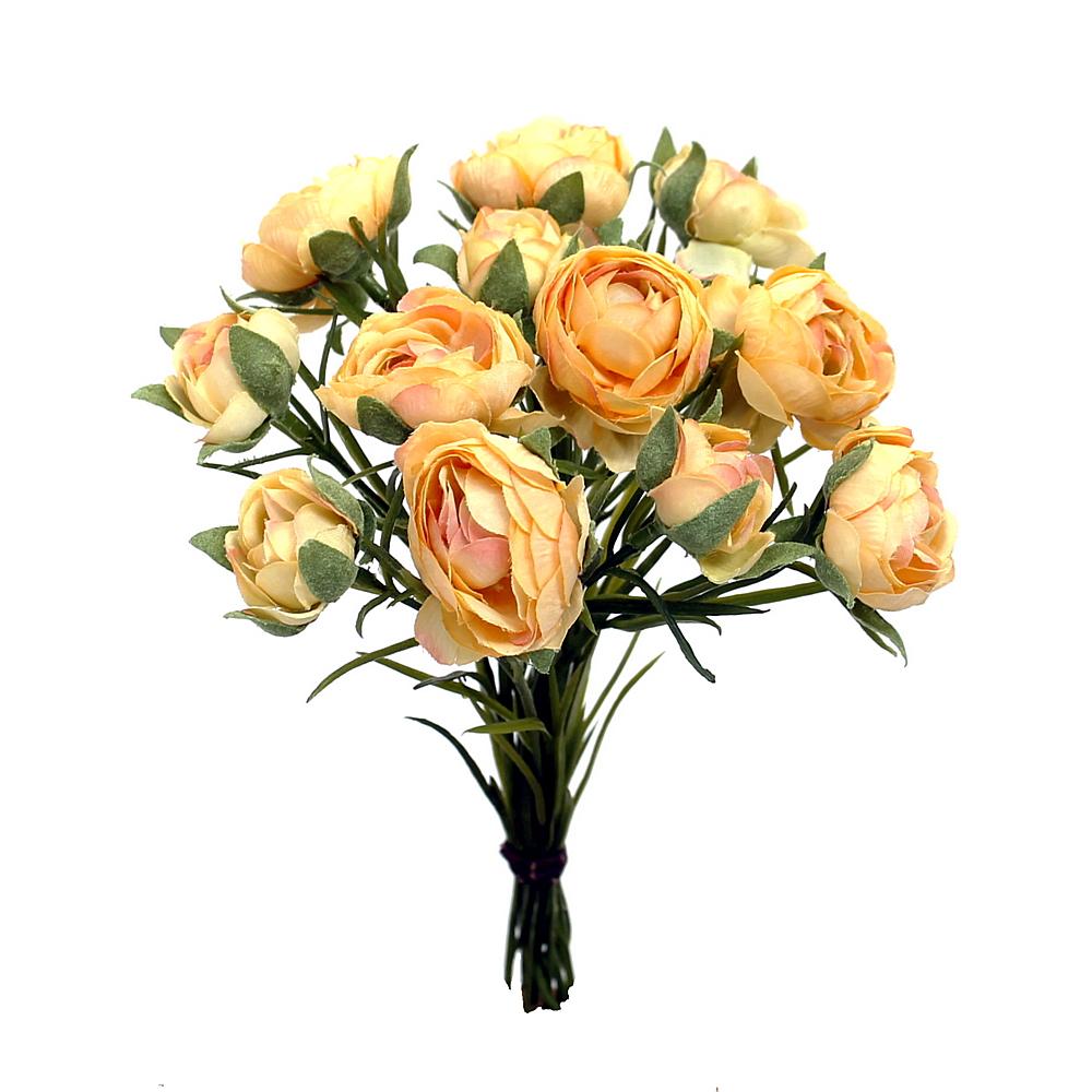 Ranunkel- Busch x12 Blüten, L 23cm, einzelne Stiele, künstlich !!! 09 apricot