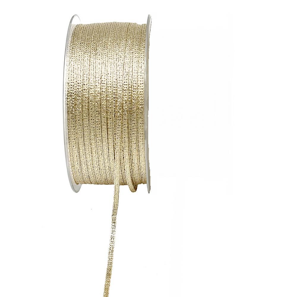 Brokatband 3mm, 100 Meter ohne Draht, Brokat Geschenkband !!! gold