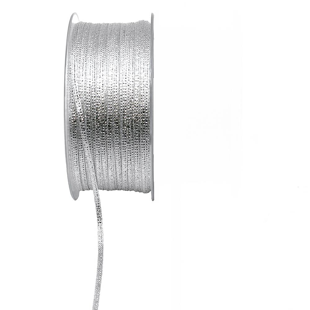 Brokatband 3mm, 100 Meter ohne Draht, Brokat Geschenkband !!! silber