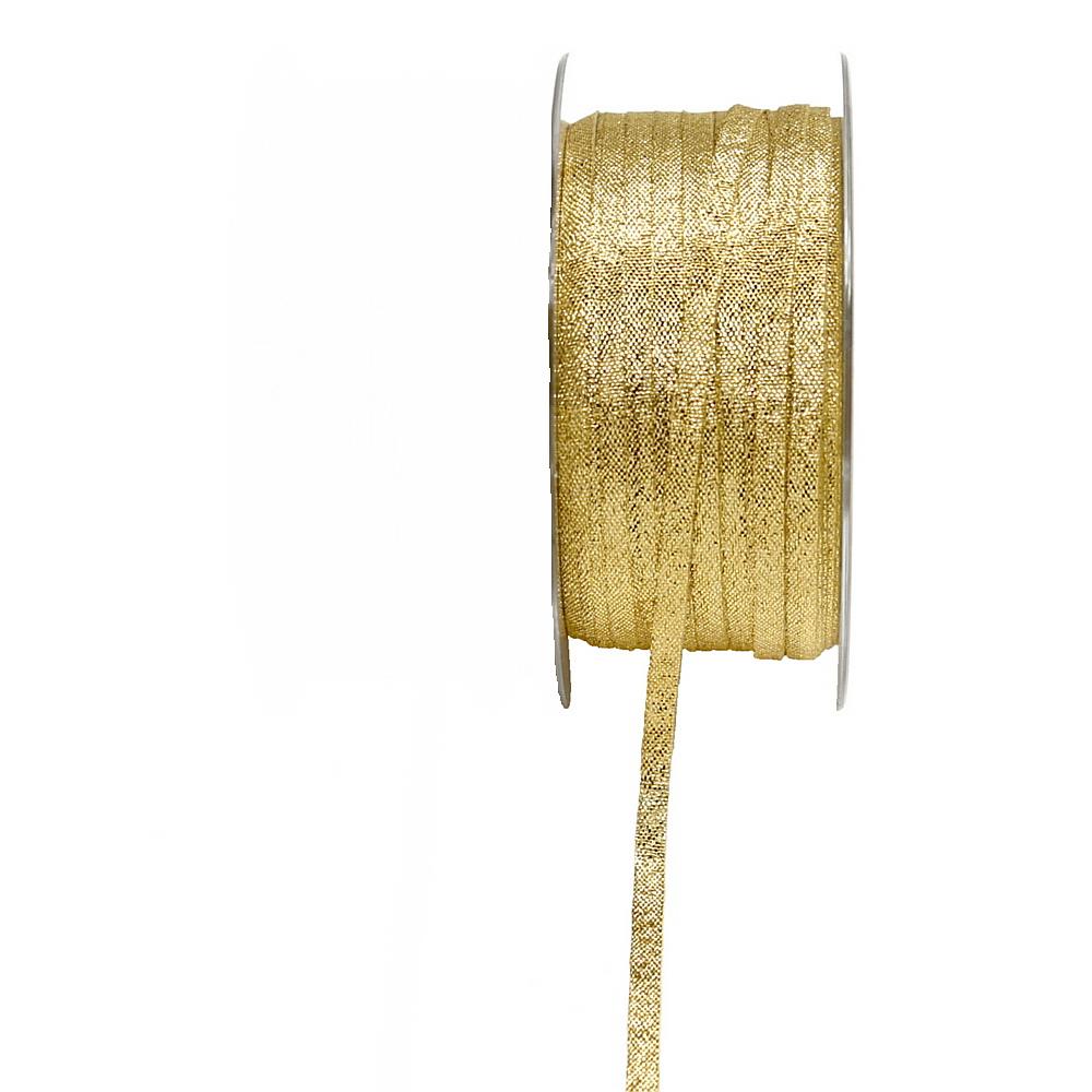 Brokatband 5mm, 50 Meter ohne Draht, Brokat Geschenkband !!! gold