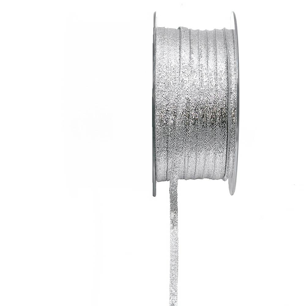 Brokatband 5mm, 50 Meter ohne Draht, Brokat Geschenkband !!! silber