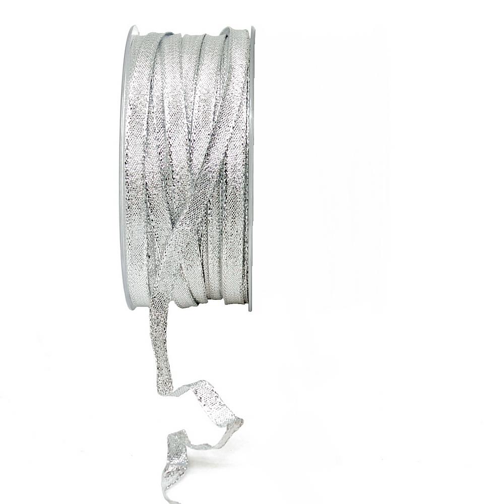 Brokatband 7mm, 50 Meter mit Draht, Brokat Geschenkband !!! silber