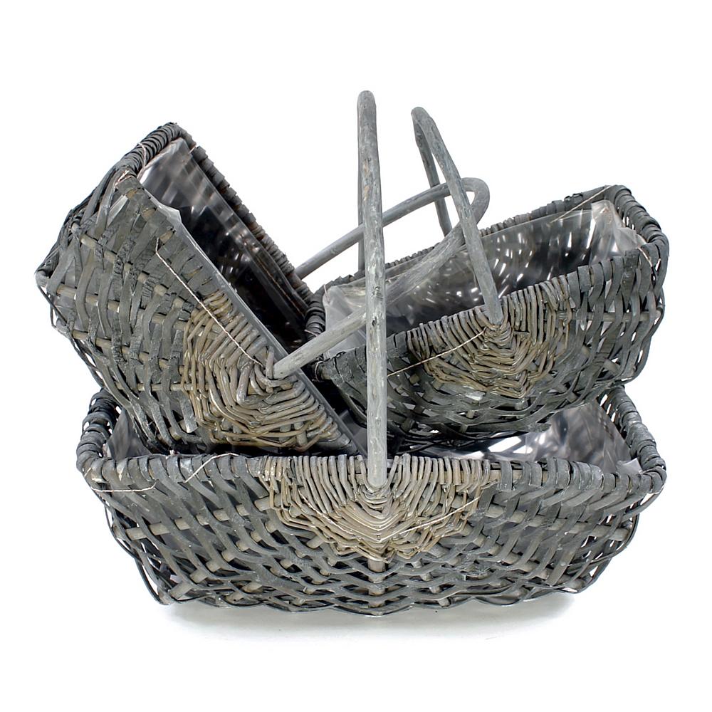 3er Set Pflanzkorb grau, eckig m. Bügel + Folie, Spaltweide 27/32/38cm