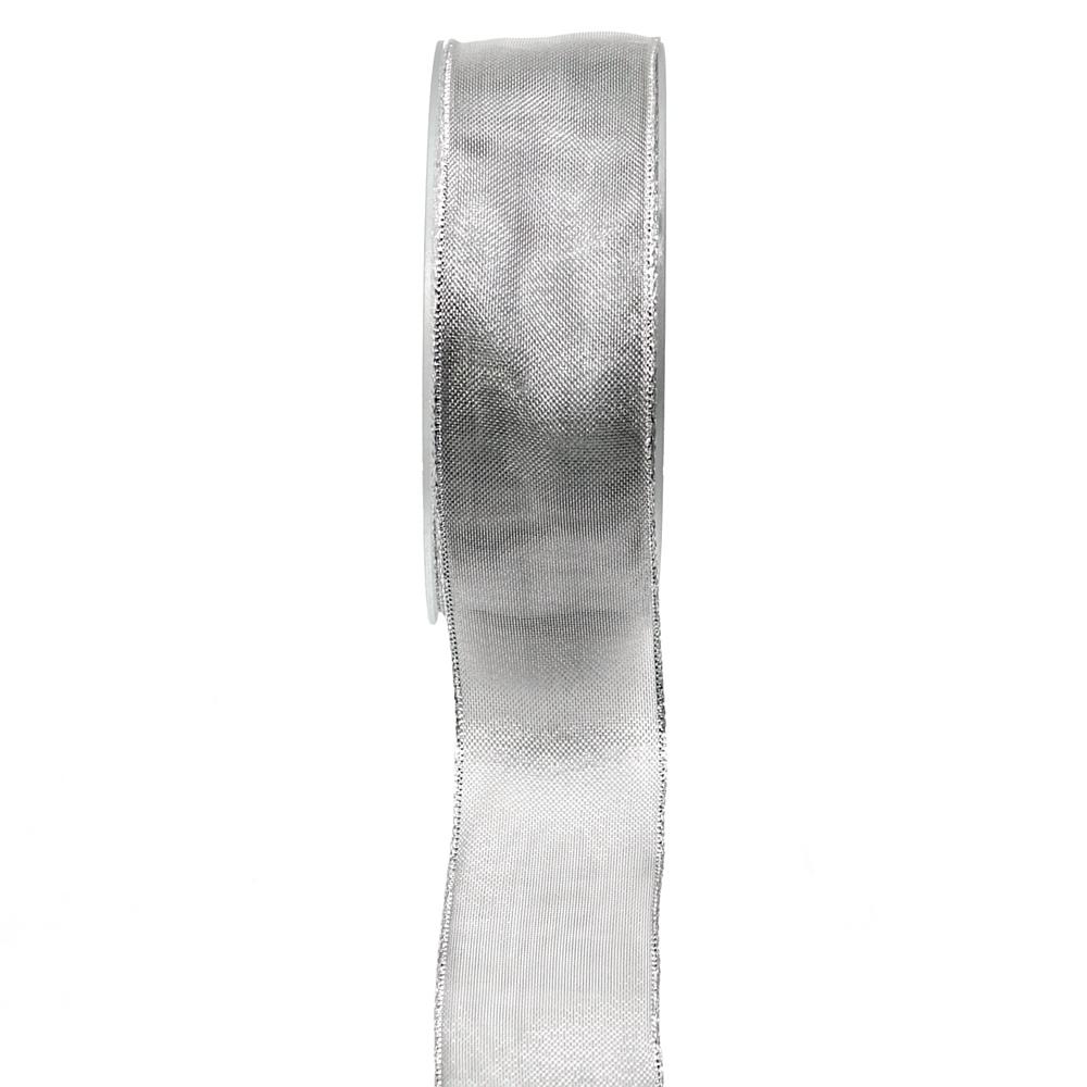 Metallic Organdy, wetterfest, silber, 20 Meter m. Draht, Band, div./ 40mm / 20 M