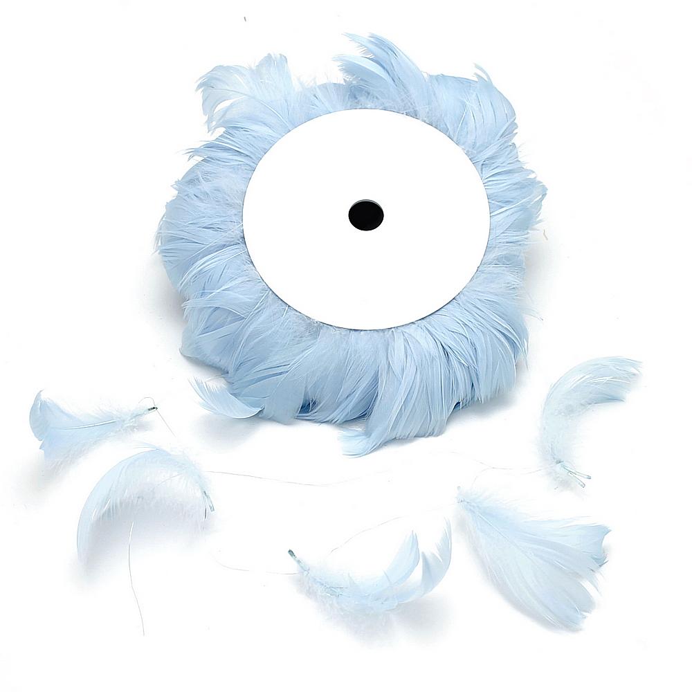 10 Meter Federn am Draht, Federn 6-11cm, viele Farben !!! 153 hellblau