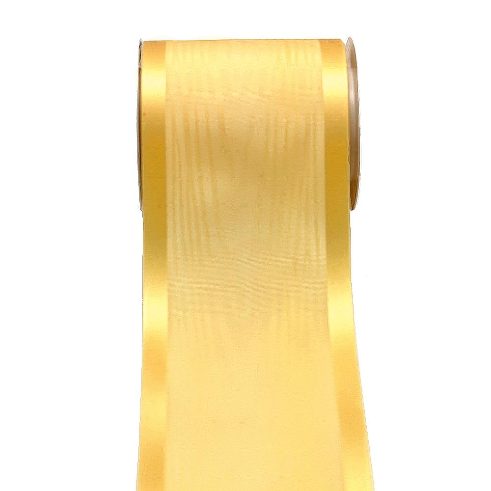 """Tischband Moire mit Satinkante """"Luxury"""", 100mm/ 10 Meter !!! 145 gelb"""