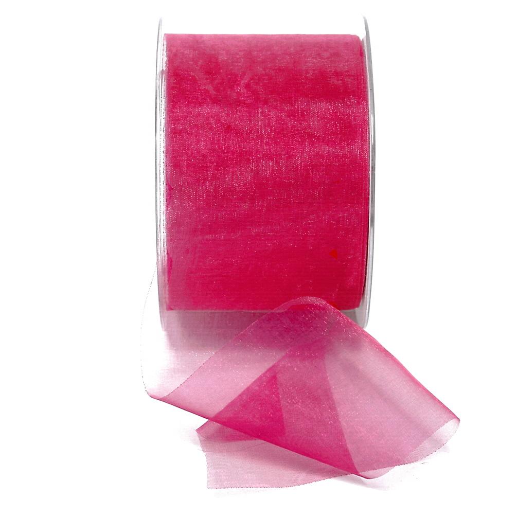 Organza Band pink (fuchsia) 70mm breit/ 50 yard TOP !!!