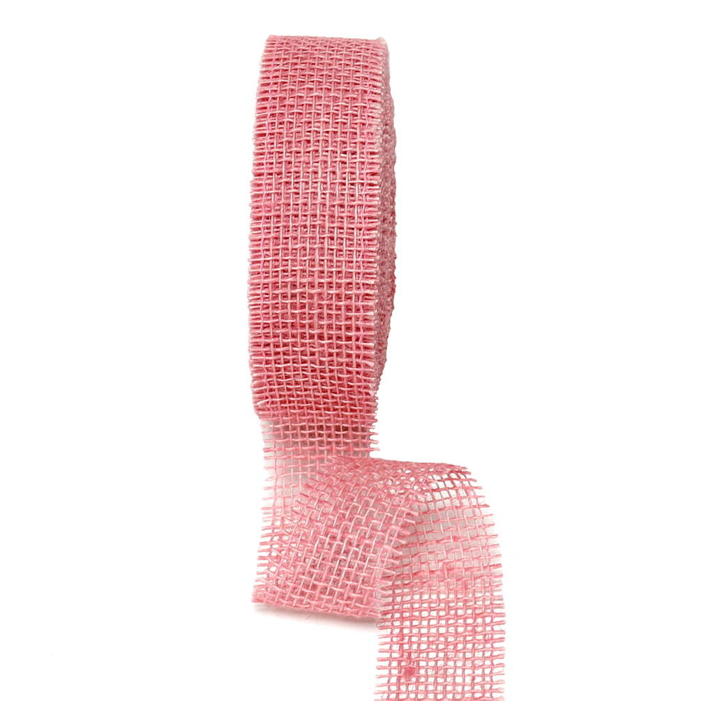 Juteband 40mm - 25 Meter Farbe: rosa
