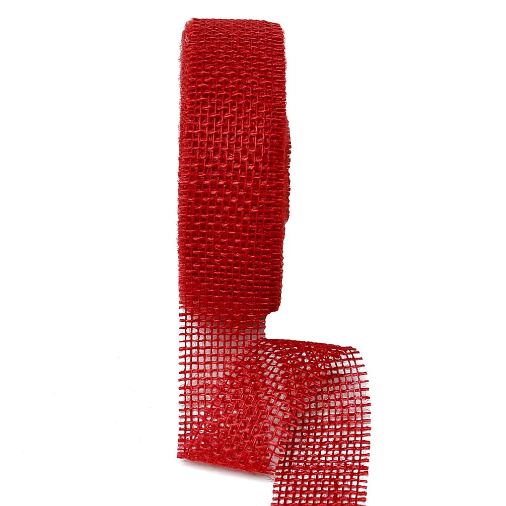 Juteband 40mm - 25 Meter Farbe: d.-rot