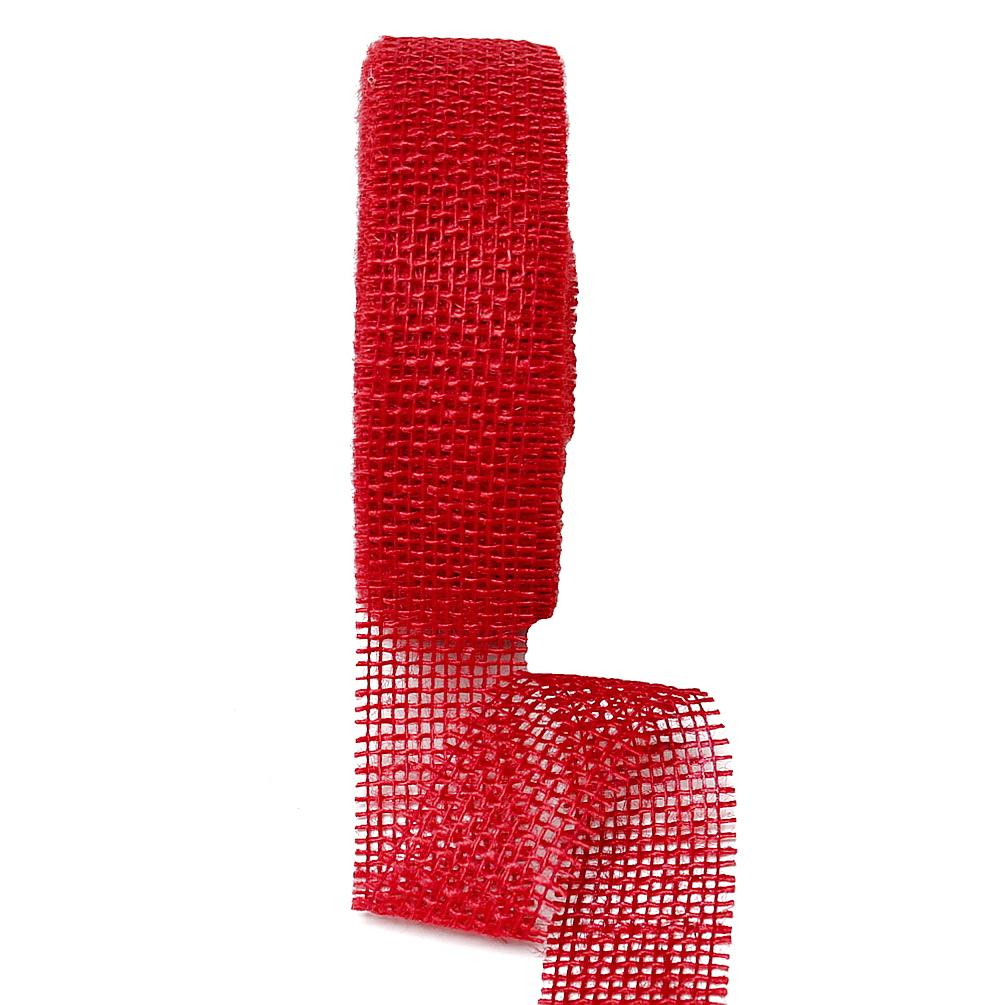 Juteband 40mm - 25 Meter Farbe: rot