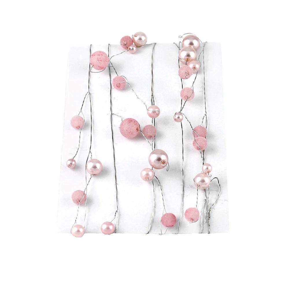 Perlengirlande matt + glänzend, mit ca 60 Perlen 1,5 Met./ 21 hellrosa