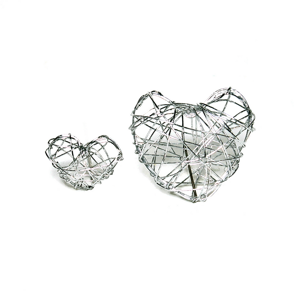 25 x Drahtherzen kompakt, mini 2,5cm, silber Streuherzen/ TOP PREIS