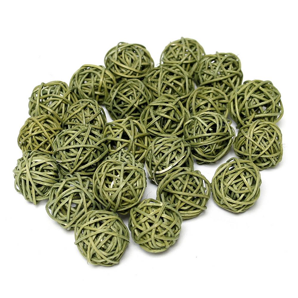 24 Rattankugeln olivgrün 3cm, Rattan Kugeln lose !!!