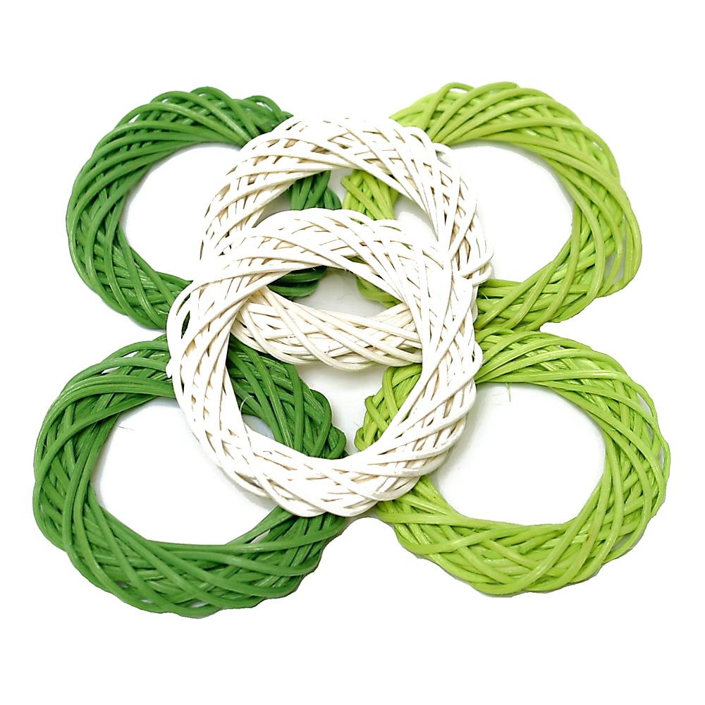 6 Rattan-Ringe 8cm grün Sortiment (3 Farben), Rattan Kränze