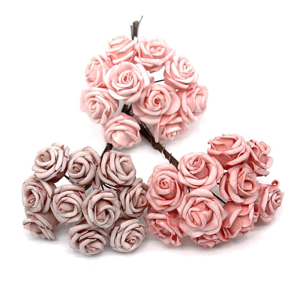 3 Bund Foamrosen rosa Sortiment, (30 Blüten) /TOP Qualität !!!