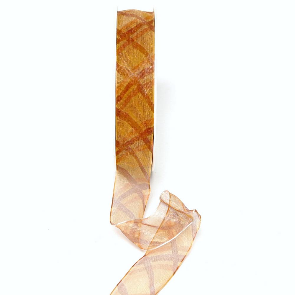 Band leicht transparent m. Streifen rost/orange, 25mm/ 20 M/ TOP PREIS