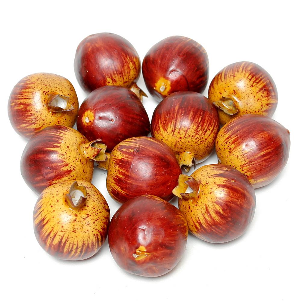 12 x Granatäpfel groß 5cm, d.-rot/gelb, künstlich, Früchte RESTPOSTEN