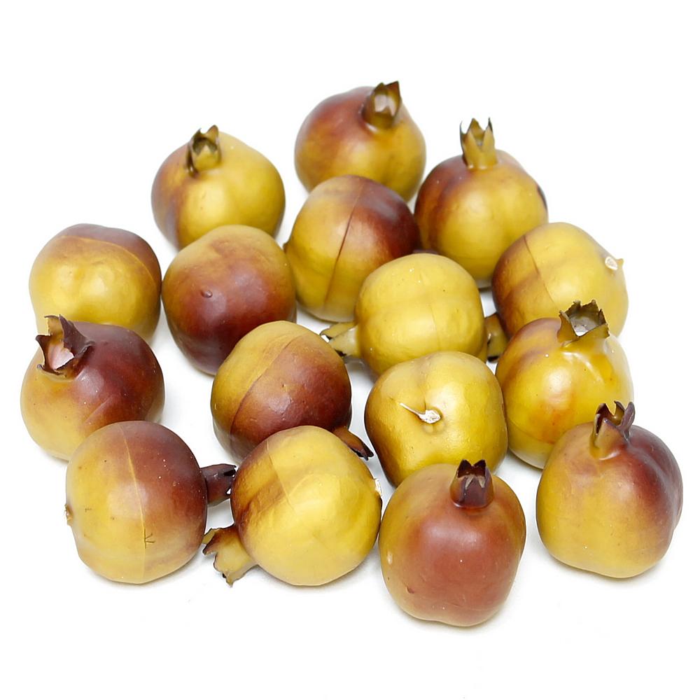 16 x Granatäpfel klein 3,4cm, grün/rot, künstlich, Früchte RESTPOSTEN