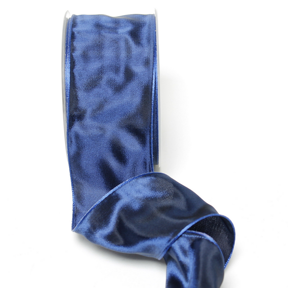 Band Acetat, d.-blau uni, 60mm, 25m Tischband m. Draht/ TOP PREIS !!!