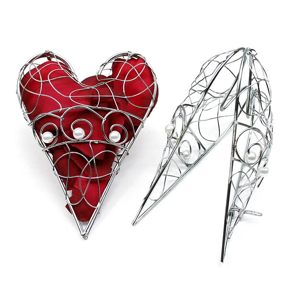 2 St. Metall- Herz zum öffnen in silber mit Perlen, 14cm x 10cm ***