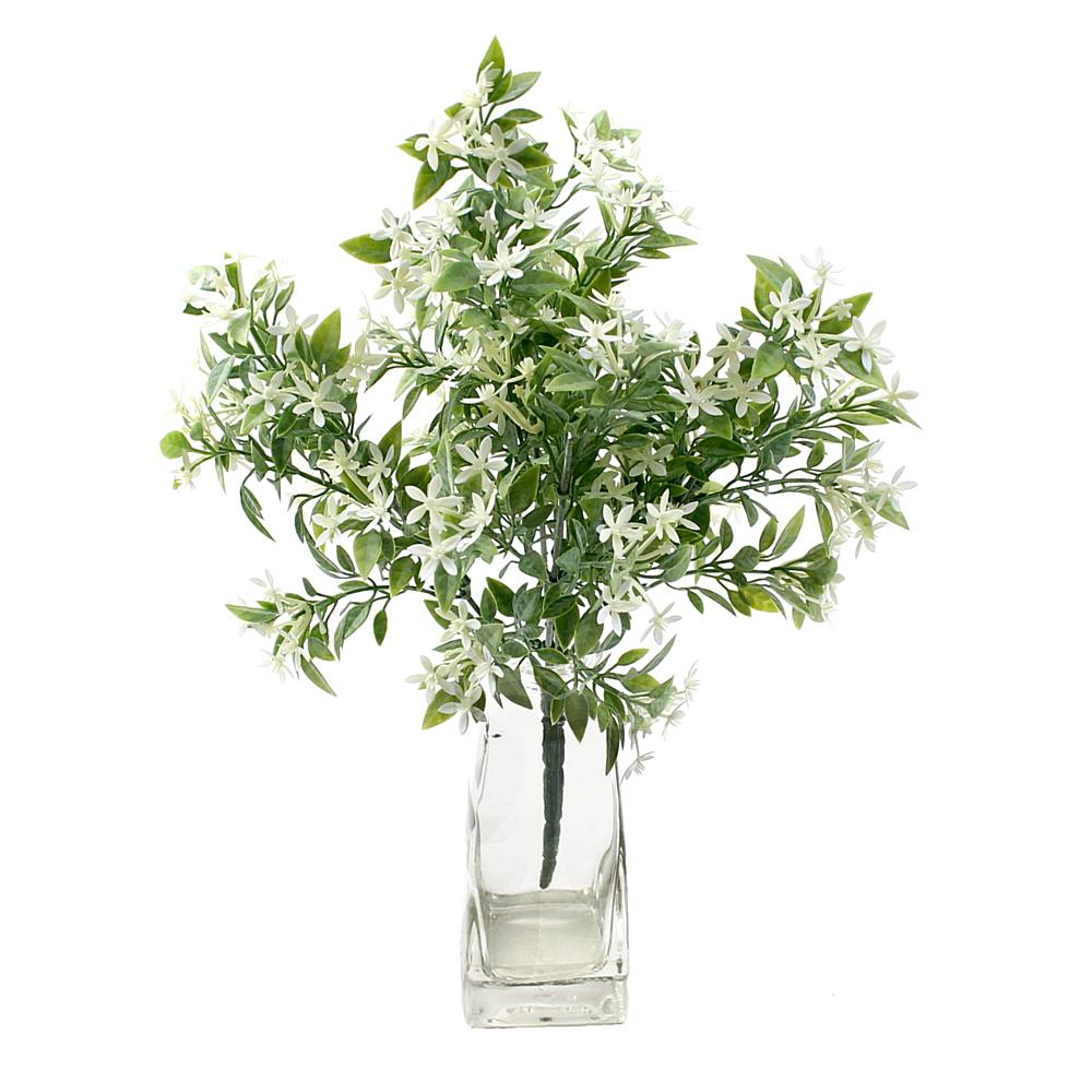 Blütenbusch grün/weiß x5, L 23/34cm, Kunststoff, outdoor !!!