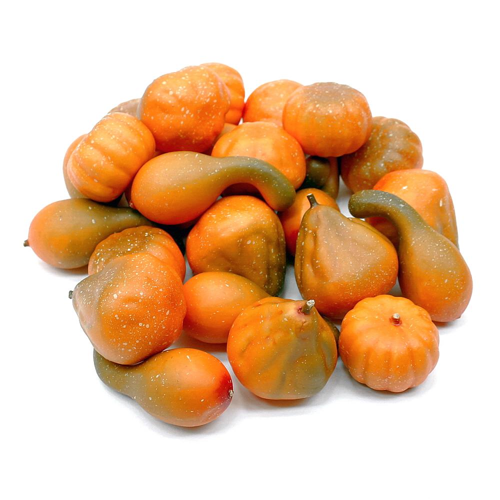 Deko Kürbis Sortiment, 24 Stück orange/grün, künstlich, Früchte/ TOP !