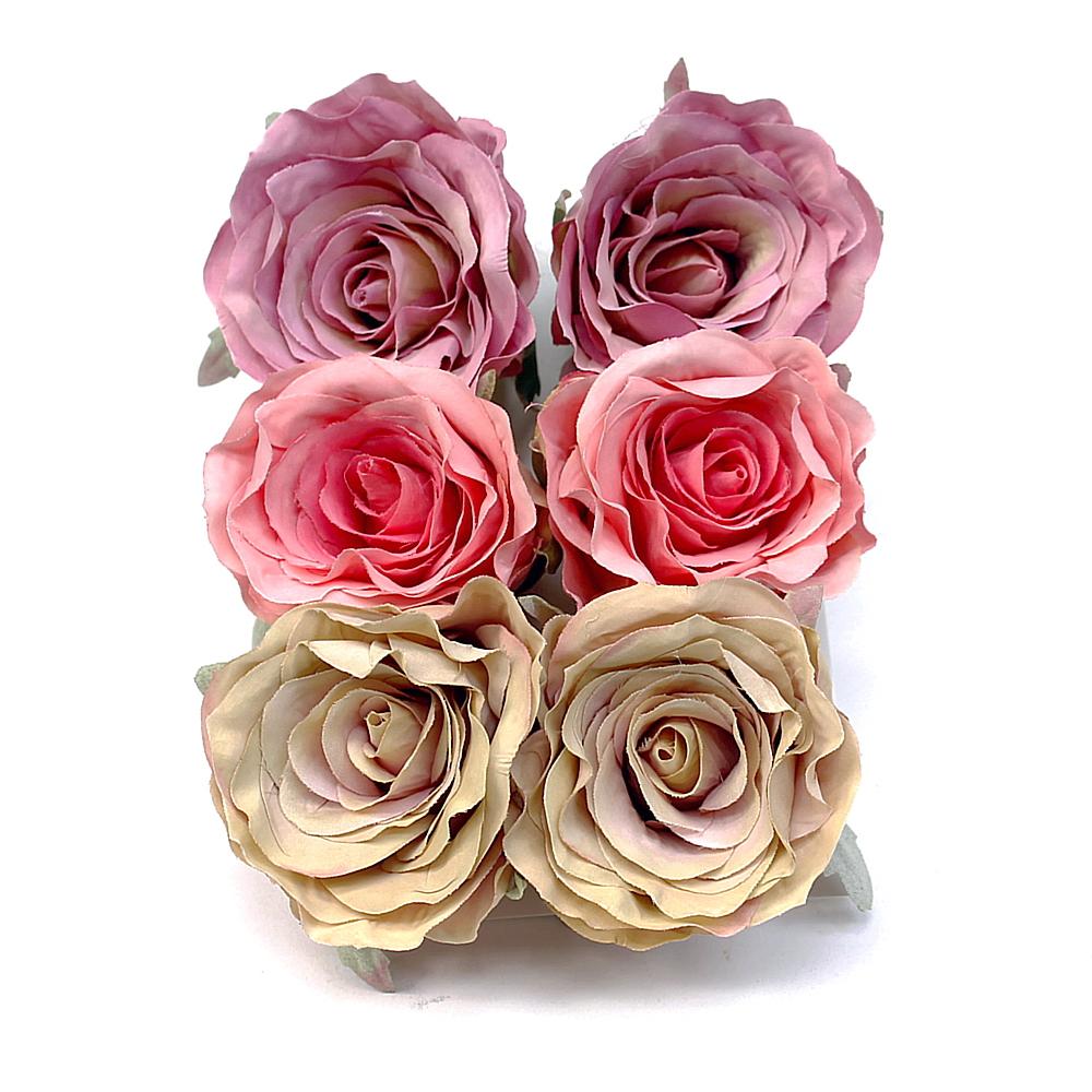 6 St. Rosenköpfe 7,5cm, natur/rosa/violett (Farbmix) /TOP Qualität